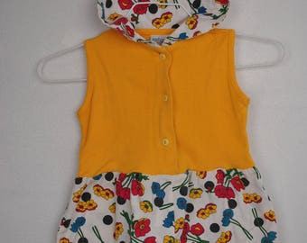 kids collared yellow jumpsuit // one piece // flower shorts // French Toast // 3T floral jumper romper