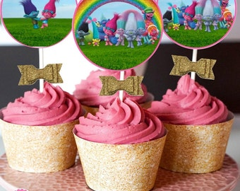 Trolls Cupcake Toopers Circles Instant Download, Glitter Trolls Party, signs, centerpiece, coordinating items avail for purchase, labels