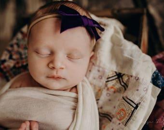 GRAPE VINTAGE VELVET Hand-tied Bow (Headband or Clip)- velvet bow headband; velvet bow; newborn headband; baby headband; toddler bow
