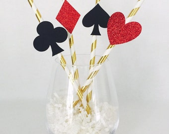 12 Playing Card Party Straws - Alice in Wonderland - Casino Party - Casino Night - Gamble - Hearts - Spades - Diamonds - Clubs - Glitter