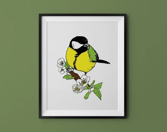 "Great Tit - 8x10"" Four Color Art Print - Hand Pulled Silkscreen Bird Illustration"