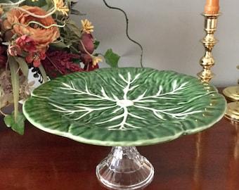 Cabbage Leaf Cake Stand. Green cabbage leaf pedestal Dessert stand. Serving piece. Tableware.  Fruit stand.