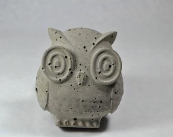 Concrete Owl Statuette | Garden Stone | Decorative Shelf Piece | Home Decor,  Office,