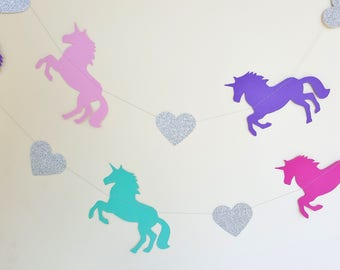 RAINBOW UNICORN Silver Garland - Party, Room Decoration