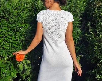 White knit dress, Lace back Dress elegant cocktail dress Linen dress Summer fitted dress linen beach crochet dress openwork dress