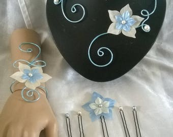 jewelry set bridal wedding light blue aluminum wire set ivory silk flower / blue wedding ceremonies, parties