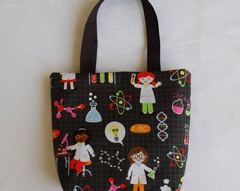 Science Fabric Gift Bag, Science Party Favor Bag- Chemistry Lab- Girl Scientists, Girl Chemists