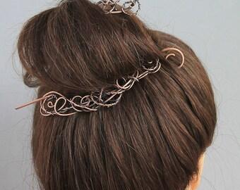 Elegant Copper Hair Slide Set, Tangle Metal Hair Jewelry, Copper Wire Hair Barrette, Unique Hair Stick, Hair Pin, Hair Accessories Women