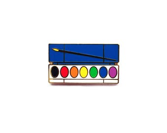 Watercolor Palette Pin | Paint Palette Enamel Pin | Gold and Rainbow Paint Pin