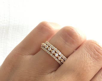 Gold Eternity Band Ring. Stackable Rings. Gold Stacking Rings. Gold Ring Set. Wedding Bands. Wedding Ring Set. Luxury Gold Wedding Bands.