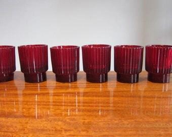 """KJELL BLOMBERG -  One ruby red Gullaskruf pressed glass Candle Holder, pattern """"Reffla"""", model number KB 62/24 - Made in Sweden - 1960s"""