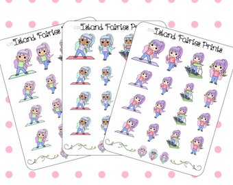 Fairy Workout Fitness Running Stretching Planner Stickers ( L25 C25 S25 )