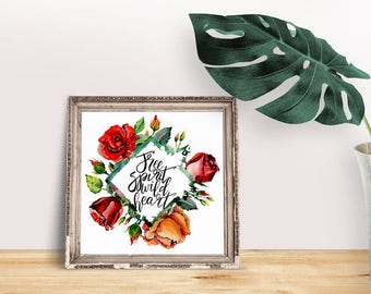 Free Spirit Quote | Roses Print, Lyrics, Brave Quote, Floral Wall Art, Rose Wall Art Quote, Floral Wreath Quote, Wild Heart Quote, Daring