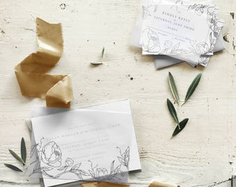 Vellum Wedding Invitation, Floral Letterpress Invitation Suite, Floral Invitation Suite, Vellum Invitation, Peony Wedding Invite - DEPOSIT