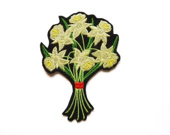 Embroidery of a bouquet of daffodils badge patch embroidered patch