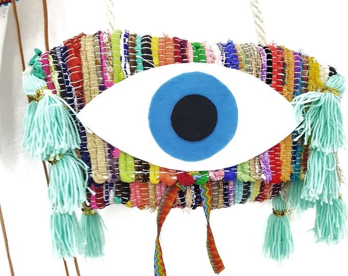 Handmade bag,Greek carpet bag,colorful bag,evil eye bag,shoulder bag,Vintage bag,Big tassels bag,boho bag,Ethnic bag Rug rag bag,woven bag