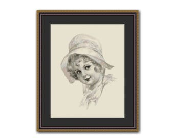 Little Girl in Her Bonnet Counted Cross Stitch Pattern / Chart, Instant Digital Download  (AP005)