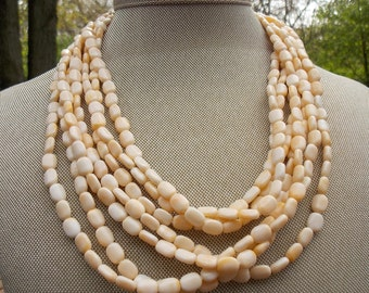Natural-Toned Beaded Multi-Strand Choker Necklace Made in Hong Kong Lightweight