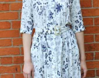 80's Button down Dress 80's Sun Dress Vintage Floral Dress  Feminine Summer Dress 12 80's Dresses Retro Women Midi Dress