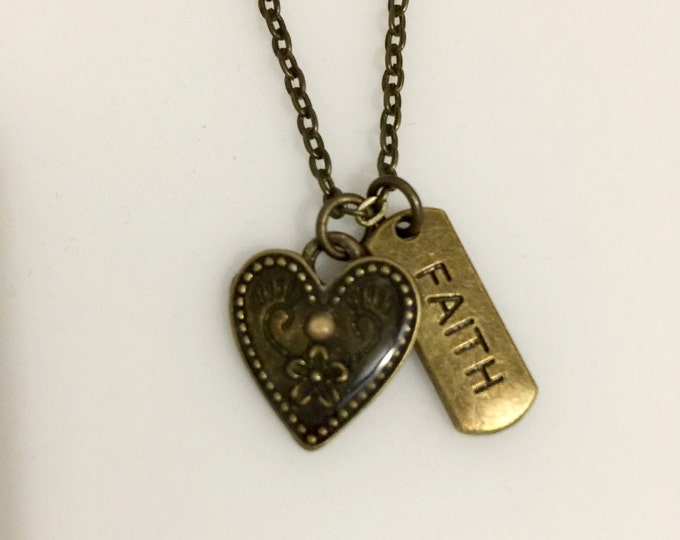 Mustard seed necklace, Heart charm pendant in antique bronze with mustard seed set in resin and faith tag, scripture Matthew 17:20