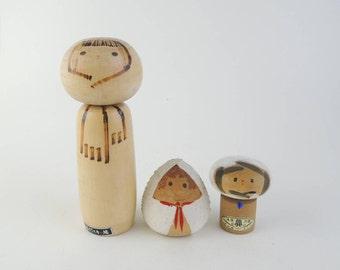 Vintage kokeshi doll, set of 3