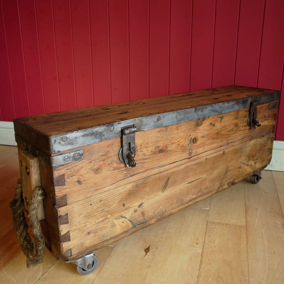 Vintage Industrial COFFEE TABLE TRUNK Reclaimed 1940s Mid Century Military Wooden Storage Chest Tv Stand