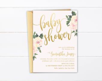 Printable Baby Shower Invitation, Elegant Gender Neutral Baby Shower Suite, Watercolor Floral Invite, Baby Girl Shower Peony Watercolor
