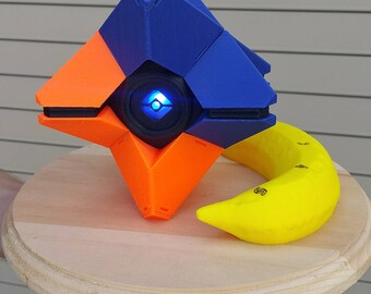 Crucible Shell Destiny Ghost FULLY ASSEMBLED - 3D Printed With Custom Laser Cut Box, Magnets, & LED