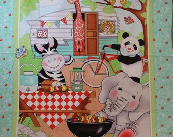 Children's fabric panel with animals camping around a camper.
