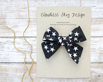 black and white star hair bow, black bow, girls hair bow, hair bows, hair bow for girls, baby hair bow, halloween bow, black hair clip