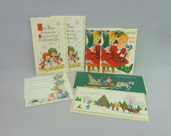 50s and 60s Glitter Christmas Cards - Lot of 8 Some w/ Envelopes - Girl on Phone Angels Praying Family on Sleigh - Vintage 1950s 1960s