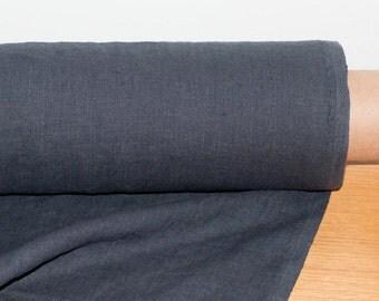 LINEN FABRIC 205GSM Dark gray, Charcoal gray medium weight prewashed pure 100% linen fabric