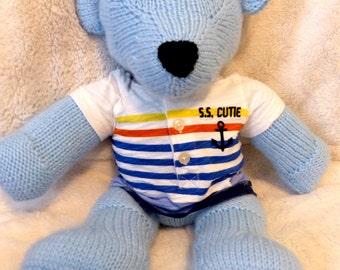 Knitted Teddy Bear- Light Blue