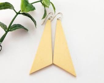 Long mustard yellow geometric earrings, Earrings gift, Minimalist earrings, Long dangle earrings, Triangle clay earrings, Best sellers, Gift