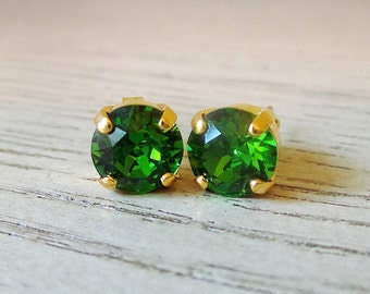 Bright green studs, St Patricks Day jewelry, green studs, Swarovski Crystal, green earrings, green jewelry, gifts for her, bright jewelry