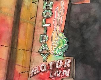 Kitsch Neon Wildwood New Jersey Ocean Holiday Motor Inn Watercolor Painting Print