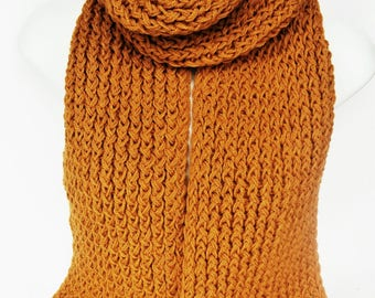 Mustard yellow scarf, chunky knit scarf, knitted scarf, handmade scarf, knitted scarves, mens scarf, womens knit scarf, lelsloom, autumn
