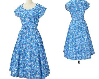 1950s Blue Floral Midi Dress-50s Flower Print Day Dress-Tea Length-Short Sleeve-Spring-Summer-Garden Party-Fit and Flare-Original Belt-S-Sm