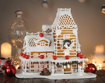 Victorian Faux Gingerbread House - Christmas Holiday Decor - Winter Model Decoration - Handmade Gift - Seasonal Centerpiece - Display Art