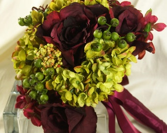 Burgundy and Roses Wedding Bouquet, Wine Roses and Olive Bridal, Hydrangea Brides Bouquet, Green Hydrangea and Wine Roses Bridal Bouquetwine