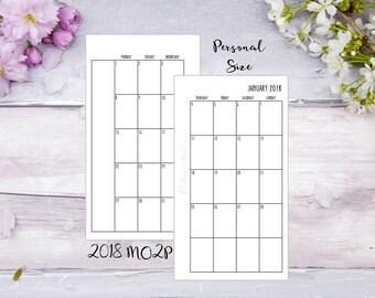 Personal | Printed | 2018 | MO2P | Month on 2 pages | Planner | Insert | Jan-Dec | Filofax | Kikkik