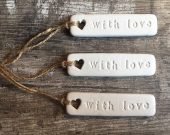Set of 3 'With Love' Clay Gift Tags - gift wrap tag, clay tag, clay decoration, keepsake tag, jar tag, wedding favour, personalised tag