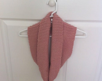 Cowl Scarf Neck, Hand Knit, Rose Gold
