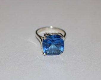 London blue topaz ring - Sterling Silver Ring - Topaz Ring - November birthstone ring - Faceted Ring -Topaz Faceted Ring - Blue Stone Rings