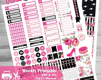 Printable Planner stickers, use with ECLP, weekly kit, monthly Kit, Floral stickers, Rose, Glam pink, Kawaii, glitter, black, Cut Files