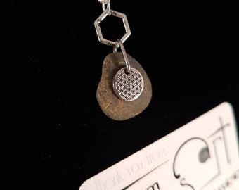 Flower of life ,river rock and hexagon necklace