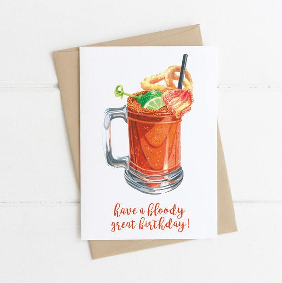 Bloody Mary, Brunch Card, Funny Card, Food Pun, Cocktail Card,  Birthday Card 5x7