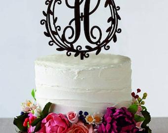 Monogram Cake Topper Initial Cake Topper  Wedding Cake Topper Rustic Wood Cake Topper Silver Gold Cake Topper Customized Cake Topper