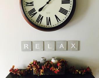 Relax Large Letter Tiles 5-1/2 inch/Large Letter Tiles/Gallery Wall Tiles/Letter Tiles/Tile Wall Art/Wall Tiles/Wood Letters/Farmhouse Decor