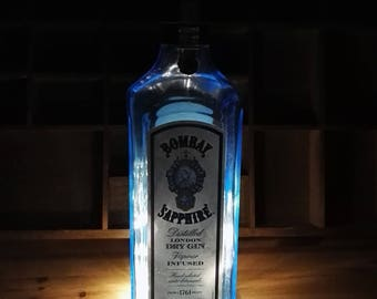 Bombay Sapphire Gin bottle with battery operated led lights lamp